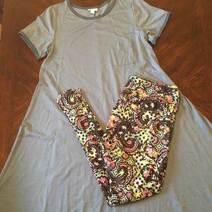 LuLaRoe Outfit Medium Carly & TC Leggings